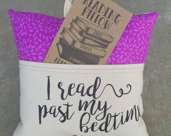 Reading Pillow-I read past my bedtime script- Book Pillow, Travel Pillow