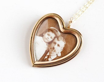 Sale - Antique Rose Gold Filled Photographic Heart Pendant Necklace - Vintage 1910s Edwardian Dad Daughter W&H Co Old Family Photo Jewelry