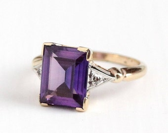 Sale- Vintage 10k Yellow White Gold Art Deco Created Color Change Purple Pink Sapphire Ring - 1930s Size 5 3/4 Art Deco Diamond Fine Jewelry