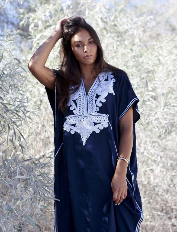20% OFF Winter Sale// Navy Blue with Silver Boho Marrakech Resort Caftan Kaftan -beach cover ups, resortwear,loungewear,maximbirthdays, hone