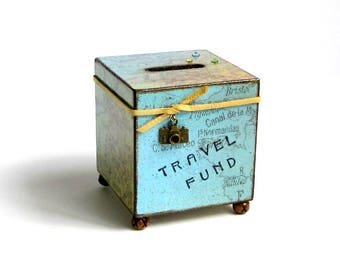 Travel Coin Bank Vacation World Map Decoupaged Wood Square Savings Bank Piggy Bank Vintage Style Map Aqua and Yellow