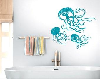 Jellyfish Decals, Underwater Decor Decal, Under the Sea Beach Decor, Bathroom Wall Decor, Sea Life Wall Decor, 3 Jelly Fish (0177c)