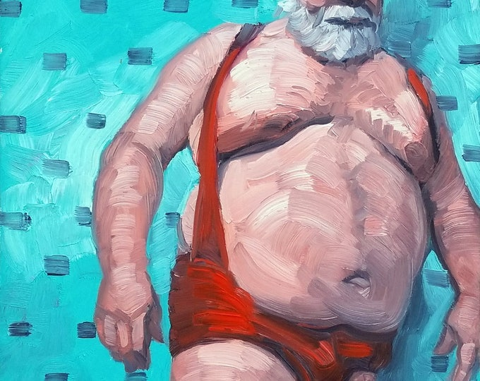 Wrestler, 16x20 inches oil on canvas panel by Kenney Mencher