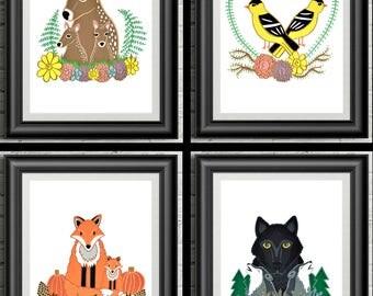 Ensemble d'illustrations les 4 saisons, affiche 5 x 7, téléchargement instantané, téléchargement numérique, affiche animals, affiche nature