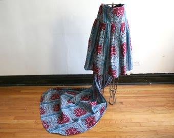 SALE African Print Cotton Long Train Skirt