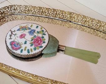 """8 3/4"""" Hand Mirror Jade Bakelite Handle, Oriental Butterflies Flowers - Oak Hill Vintages"""
