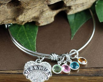 Grandma Bangle Bracelet, Personalized Birthstone Bracelet, Grandmother Bracelet, Gift for Grandma, Mothers Day Gift