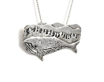 Ocean Jewelry For Women, Whale Jewelry Gift , Robin Wade Jewelry, Nature Jewelry Sterling, Forest Jewelry, Whale Wynston Goes Deep, 2466