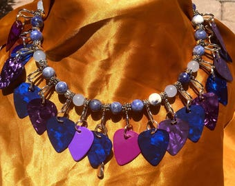 Guitar Pick Stainless Steel Neck ring Blue and Purple Colored