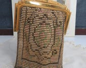 Art Deco Whiting & Davis Enamel Metal Mesh Handbag, Flapper Style Evening Bag, Vintage Wedding