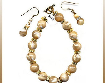 """7.5"""" Bracelet 10mm Caramel Mother-of-Pearl Rounds TierraCast Gold Pewter Square Spacers Toggle And/Or 14K Gold-Filled Gold Dangle Earrings"""