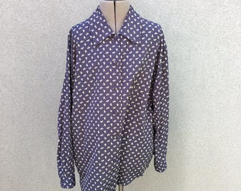 Vintage Blue and White Dog Print Blouse / Pony Pattern Shirt / 90s Button Down