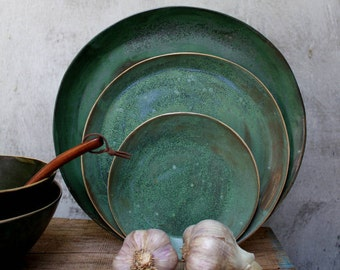 green wabi sabi dinner plates