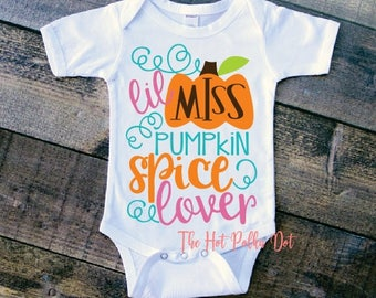 Infant Pumpkin Spice Bodysuit, Lil Miss Pumpkin Spice Lover Baby Girl Fall Thanksgiving Outfit Baby Bodysuit - Pumpkin Spice Baby