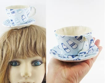 MADE-TO-ORDER ( 1 - 2 Weeks)- Textile Teacup Fascinator (Hair Clip for Children & Adults) -Blue Milk Bottles