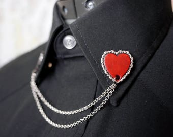 Leather Heart and Chain Collar Pin Brooch Piece - Ready to ship!