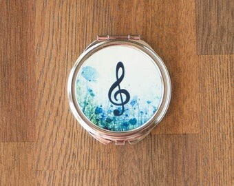 Treble Clef Music Themed Mirror Compact