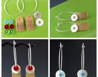Interchangeable Brass and Sterling Silver Earrings with Glass Beads