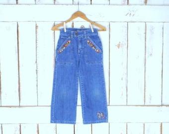 Kids/girls/childrens loose wide leg floral embroidered faded/distressed blue denim jeans/Osh Kosh BGosh/7