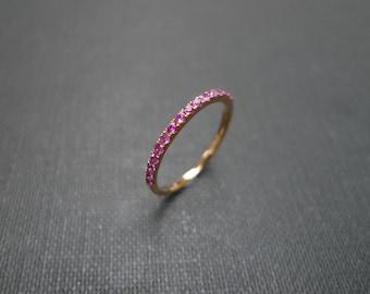 Pink Sapphire Ring, Sapphire Ring, Sapphire Band, Pink Sapphire Ring 14k, Pink Sapphire Rose Gold Ring, Wedding Band, Thin Ring, Thin Band