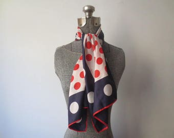 Vintage '60s Red, White & Blue Polka Dot Acetate Rayon Long Skinny Scarf