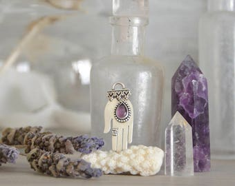 The Giver Pendant in Sterling Silver and Amethyst - hand palmistry fortune teller gift mystical