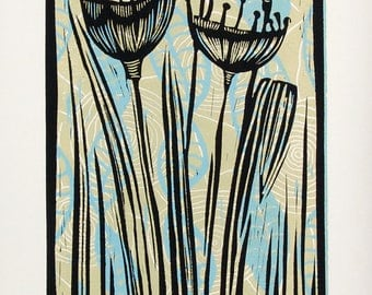 linocut print, Pods, sky blue, olive green, flowers, pods, seeds, nature, printmaking, home interior, contemporary art, floral, soft colors,