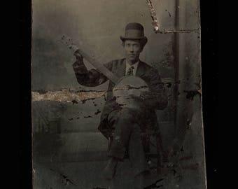 Banjo Player - Antique Tintype Photo