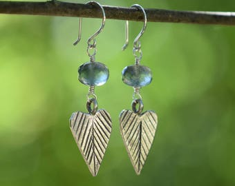 Moss Aquamarine Heart Leaf Earrings - Hill Tribe Silver Leaves - Aquamarine Jewelry - Boho - Hippie - March Birthstone - Silver Jewelry