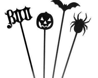 Halloween Assorted Drink Stirrers, Stir Sticks, Swizzle Sticks, Laser Cut, 4 CT. Boo, Pumpkin, Jack O Lantern, Bat, Spider