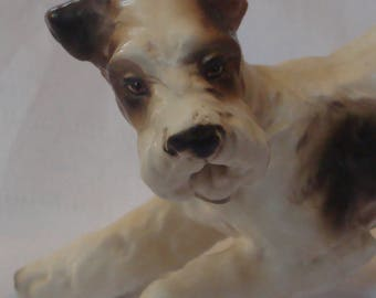 Wire Fox Terrier Porcelain Figurine, 1960's Norcrest