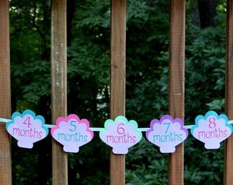 READY TO SHiP Mermaid First Year Photo Banner Little Mermaid Pink Purple & Teal Under the Sea Photo Banner First Birthday Mermaid Decoration
