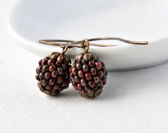 Dangle Earrings - Beaded Earrings - Gift for Her - Bead Earrings - Berry Earrings - Seed Bead Earrings - Autumn Jewellery
