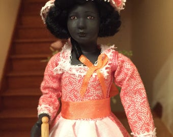 OOAK 1/12 th scale dolls house doll - Beautiful black 18 th century house maid