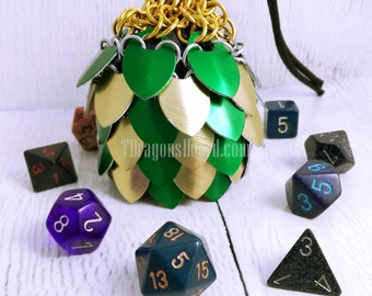 Ready To Ship - Small Green & Gold Scalemaille Dice Bag - In Stock
