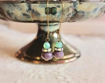 Sea foam green, rhinestone, and lavender glass bead drop earrings, kidney wire earrings