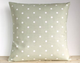 Polka Dot Pillow Cover, Sage pillow, Throw Pillow Cover, Cottage Chic, Shabby Chic Cushion Cover, Spots, Dots - Polka Dot Sage