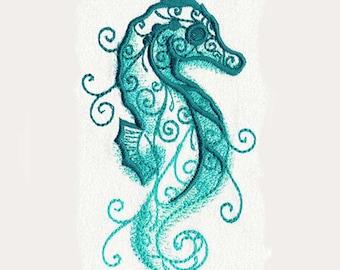 Seahorse Aqua Marine Tea Towel | Kitchen Towel | Personalized Dish Towel | Embroidered Kitchen Towel | Personalized Kitchen Towel