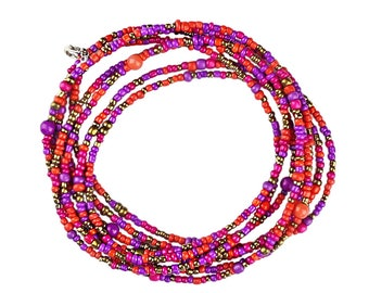Extra Long Beaded Necklace Bohemian Style Can Be Wrapped and Looped for Different Fashion Styles Bright Purple Orange and Gold Theme