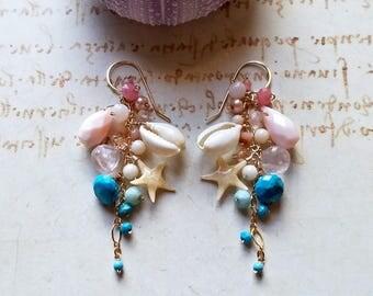 Pastel Beach Earrings, Pink Blue Cluster Earrings, Pink Peruvian Opal Dangle, Sleeping Beauty Turquoise Cluster:  Ready to Ship