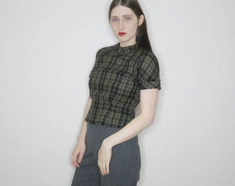 Vtg 50s green plaid wool plaid top size small