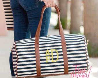Navy and White Stripe Duffle Duffel Bag with Brown Camel Faux leather Trim and Gold Accents Travel