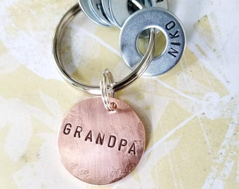 Personalized Grandpa keychain - Grandparent Christmas Birthday Hand Stamped Key Chain - Washer Key Chain and Copper Disc