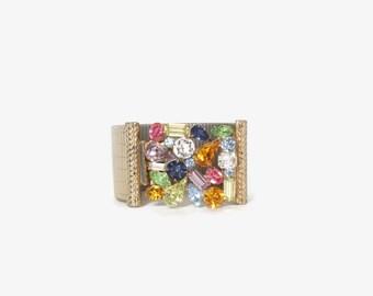 Vintage 60s BRACELET / 1960s Wide Gold Bracelet with Pastel Rhinestone Cluster