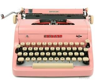 1956 Pink Royal Quiet De Luxe Typewriter, Professionally Serviced, Pink Typewriter, Royal Typewriter, Working Typewriter, Gifts For Writers