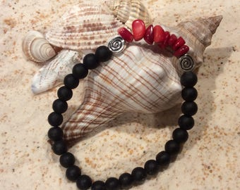 Red Coral and Black Bead Bracelet