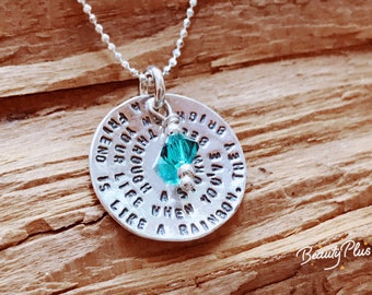 Friendship Necklace Sterling Silver Disc with  Quote & Birthstone - Best Friends Jewelry, Sister, Best Friend Necklace ,Going Away Gift