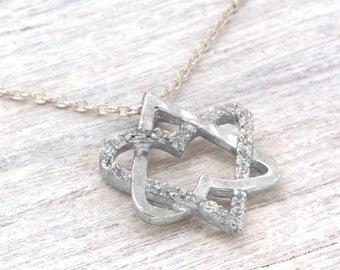 White Gold Magen David, Star of David necklace, Jewish jewelry, Gold Magen David pendant, Bar Mitzvah gift, Judaica gift