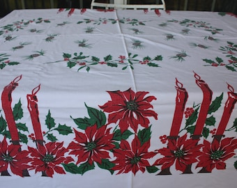 Vintage christmas tablecloth | Etsy
