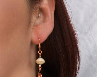 Paper bead earrings - paper bead jewelry - first anniversary gift - ladies earrings - paper jewelry - copper spiral earrings